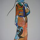Geisha Wrapped in Silk Dipped in Koi by myREVolution