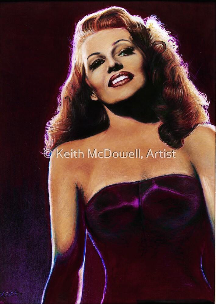 Rita Hayworth Color Pencil @ www.KeithMcDowellArtist.com by © Keith McDowell, Artist