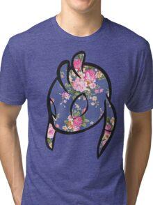 Pink Floral Alien Head Tri-blend T-Shirt