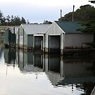 Boathouse reflections on the Glenelg River, Nelson,Vic, Australia by Ian Williams