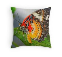 orange and yellow butterfly Throw Pillow