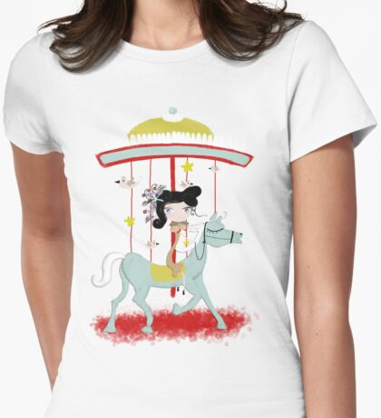 Carousel colorful whimsical magic horse ride doll tshirt Womens Fitted T-Shirt