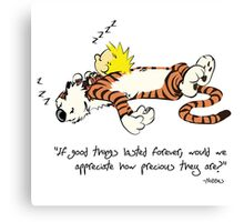Calvin And Hobbes Quote Funny Sleeping Canvas Print