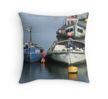 Anchored Fishing Boats Throw Pillow