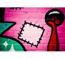 Textured graffiti detail on the brick wall Photographic Print
