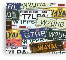Old American Car Licence Plates  Canvas Print