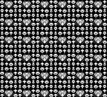 Majora's Pattern - Classic Black & White by B-Shirts