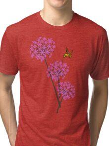 Hummingbird and flowers Tri-blend T-Shirt
