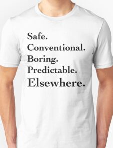 Predictable Elsewhwere - Black Lettering, Funny T-Shirt