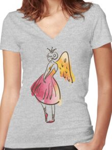 ballerina figure, watercolor Women's Fitted V-Neck T-Shirt