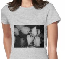 Tiny Leaves-B&W Womens Fitted T-Shirt