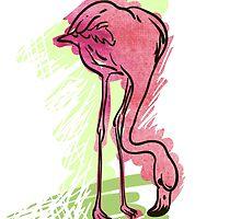 Painted flamingo bird by OlgaBerlet