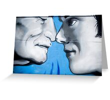 Graffiti showing Maori greeting by rubbibg noses ( Hongi) Greeting Card