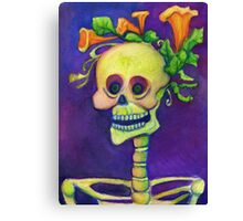 Day of the Dead Skeleton with Pumpkin Blossoms Canvas Print