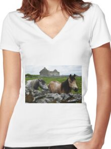 Connemara Ponies and Carron Church Women's Fitted V-Neck T-Shirt