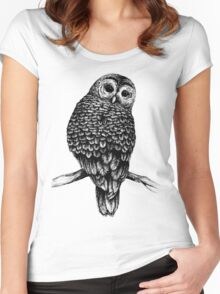 Hand Drawn Owl Women's Fitted Scoop T-Shirt