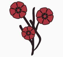 Three red flowers Baby Tee