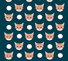 Orange Taby polka dots for cat lady cat lovers cat person gifts home decor with cat face cat meme by PetFriendly