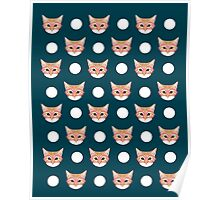 Orange Taby polka dots for cat lady cat lovers cat person gifts home decor with cat face cat meme Poster