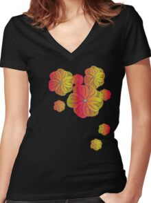 Fire flowers Women's Fitted V-Neck T-Shirt