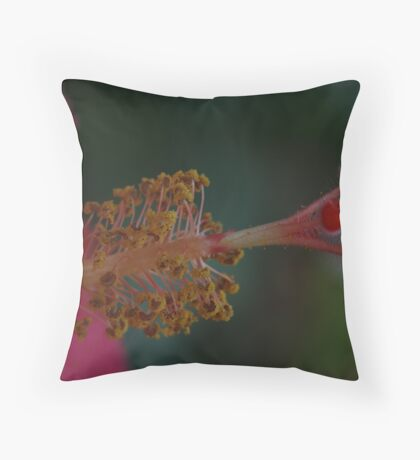 Hibiscus Stamen Macro Throw Pillow