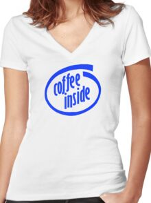 Coffee inside Women's Fitted V-Neck T-Shirt