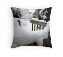 snow on the handrail Throw Pillow