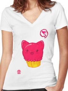 Cupcake Kitty Women's Fitted V-Neck T-Shirt