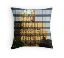 Morning at the Bus Stop Throw Pillow