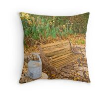 The empty bench at Black Springs Bakery, Beechworth Throw Pillow