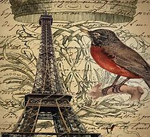 elegant scripts crown robin vintage paris eiffel tower  by lfang77