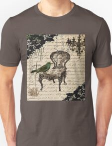 shabby chic vintage bird scripts french chair chandelier  T-Shirt