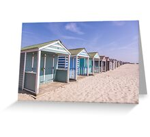 Pastel stripey beach hut love *1* Greeting Card