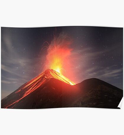 Fuego Erupts on a Moonlit Night Poster