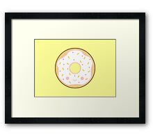 Yummy kawaii white doughnut Framed Print