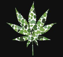 Love and Weed - Love and Pot - Weed leaf with green hearts by Denis Marsili - DDTK
