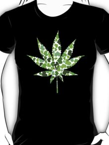 Love and Weed - Love and Pot - Weed leaf with green hearts T-Shirt