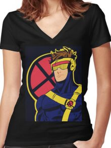 X-Men vintage Cyclops 1990s  Retro Women's Fitted V-Neck T-Shirt