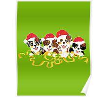 4 Cute Puppies Seasons Greetings Poster
