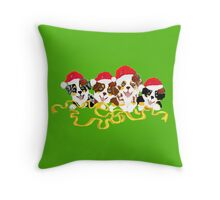 4 Cute Puppies Seasons Greetings Throw Pillow