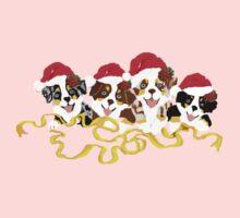4 Cute Puppies Seasons Greetings Kids Tee