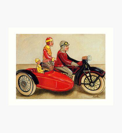 Sunday Ride - vintage tin toy painting Art Print