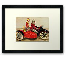 Sunday Ride - vintage tin toy painting Framed Print
