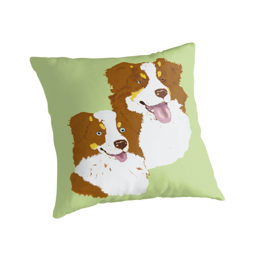 Red Tri Australian Shepherd Pair by Barbara Applegate