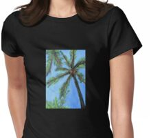 Tropical Beach Palm Tree Womens Fitted T-Shirt