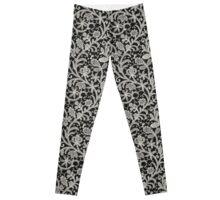 Lace Black Background. Seamless Pattern. Leggings