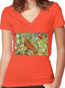 Fritillary Butterfly Among The Flowers Women's Fitted V-Neck T-Shirt