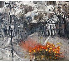 marigolds on a rainy day by glennbrady