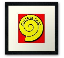"""Buttons """"Guten Tag"""" rot, gelb unt schwarz Framed Print"""