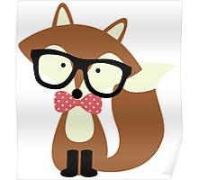 Red Bow Tie Hipster Fox Poster